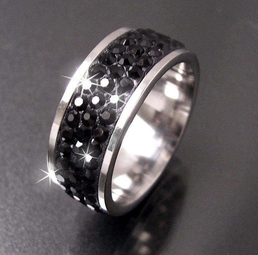 ring edelstahl strass schwarz edelstahlring fingerring gr enwahl schmuck vr6 ebay. Black Bedroom Furniture Sets. Home Design Ideas
