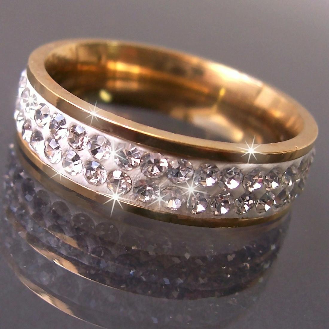 R509-18 Ring Edelstahl mit Gold plattiert Strass clear 18mm Damen neu