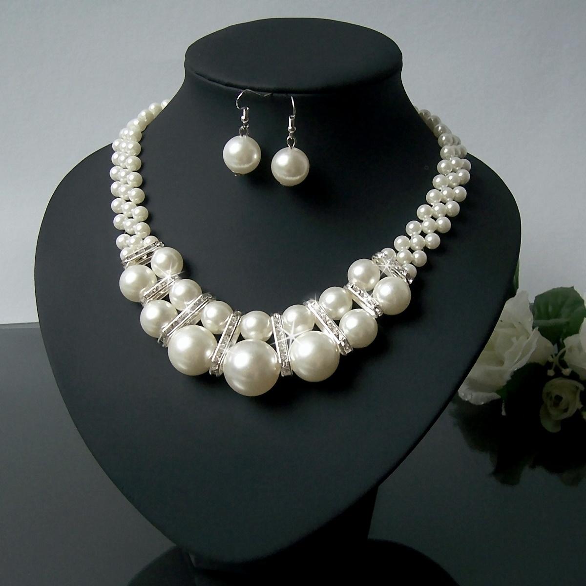 S1049# Statement Perlencollier Kette Halskette Perlen Ohringe cream
