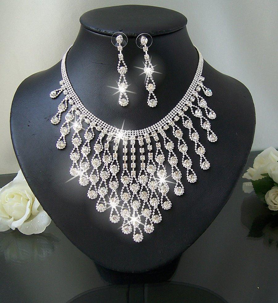 Collier Kette Ohrringe SCHMUCKSET Braut Hochzeit Strass Silber S1410