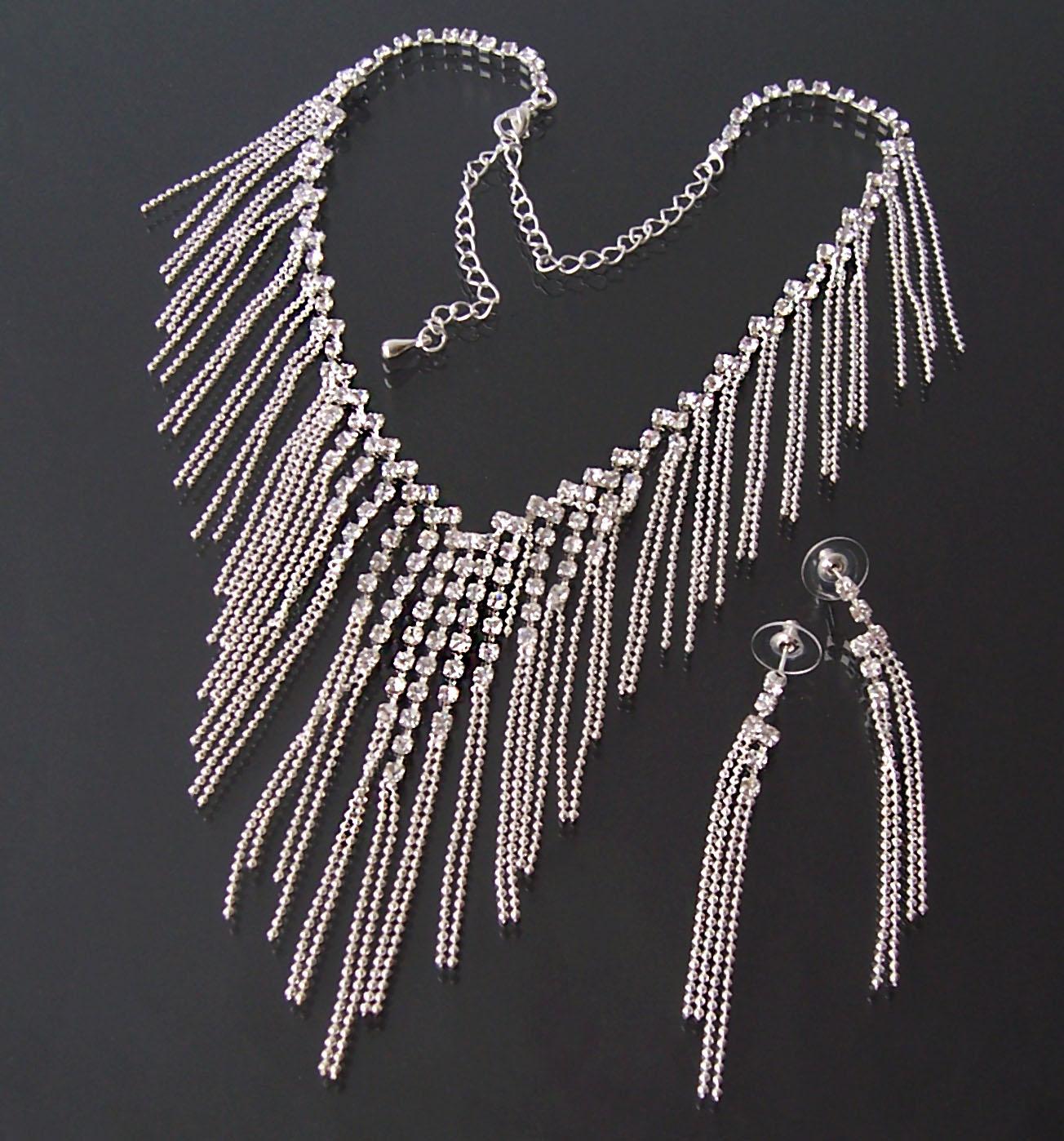 Schmuckset Collier Halskette Ohrringe silber Strass Braut Party Schmuck S1412