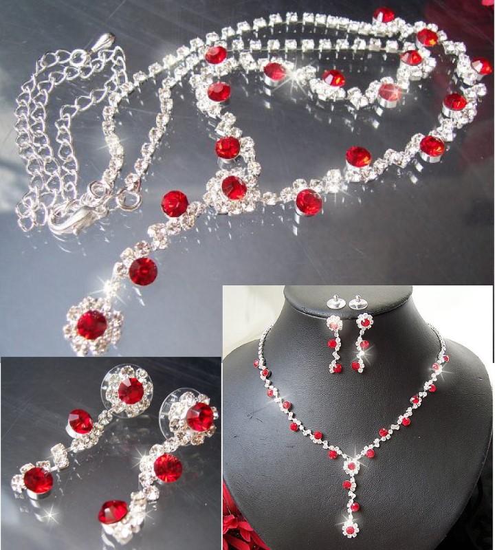 Schmuckset Collier Kette Ohrringe Silber plattiert Hochzeit S1453