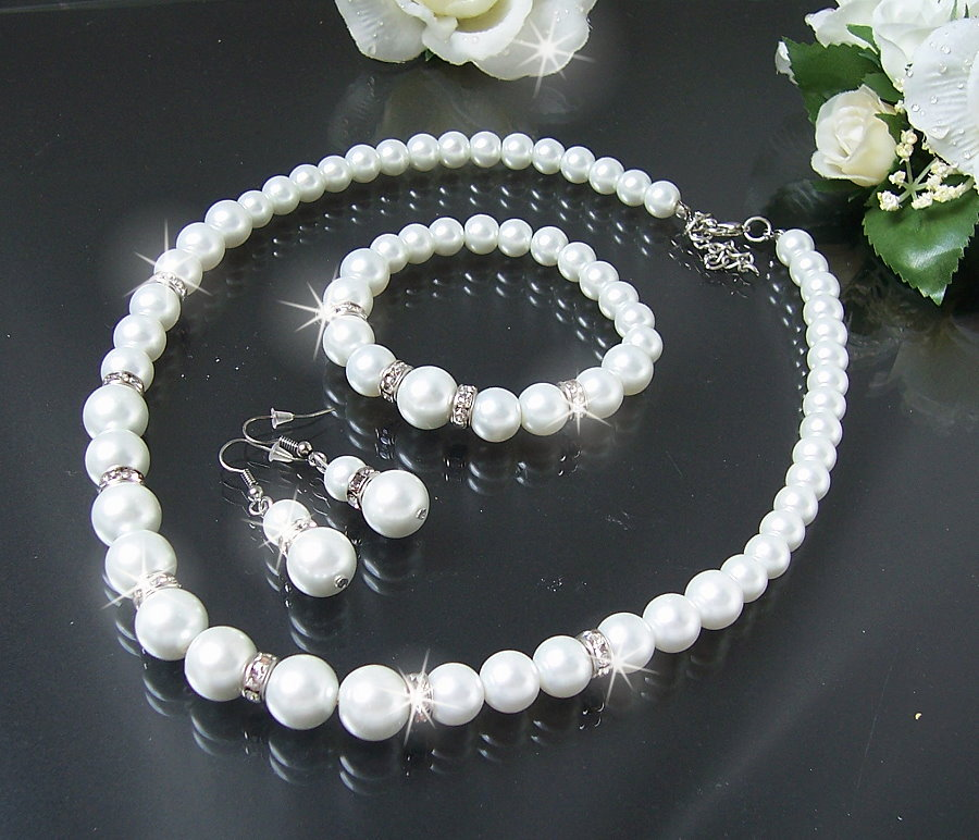 Brautschmuck perlenkette  Halskette Collier Perlenkette Schmuckset Ohrringe Armband Perlen ...