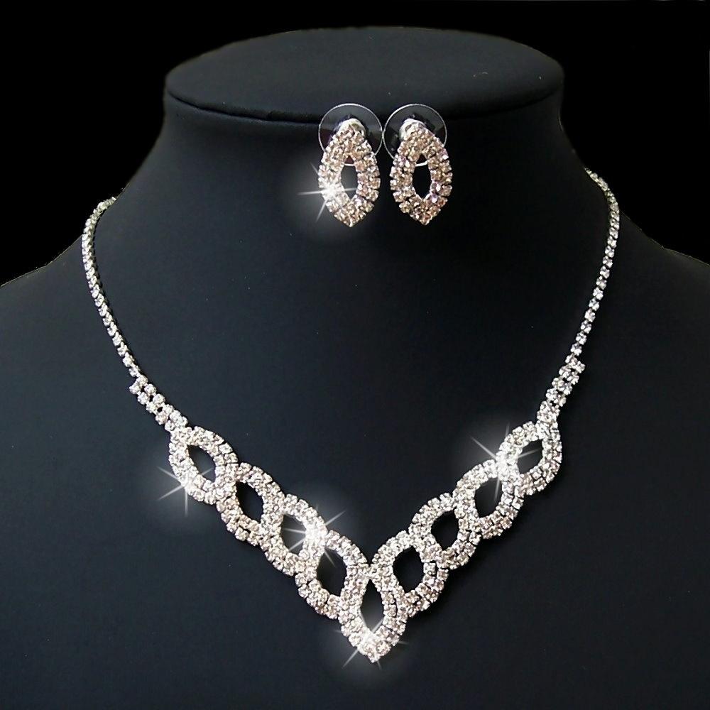 Kette Strass Collier Silber spitz Ohrringe Schmuck Schmuckset S1635