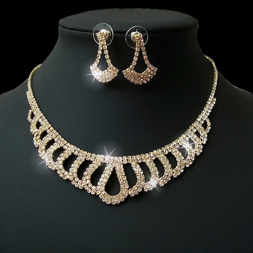 Kette gold Collier Strass Tropfenform Ohrringe Schmuck Braut S2432