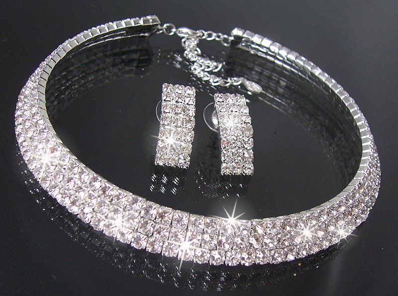 Colliers schmuck  Collier Choker Ohrringe Armband Strass Schmuck Halskette Braut ...