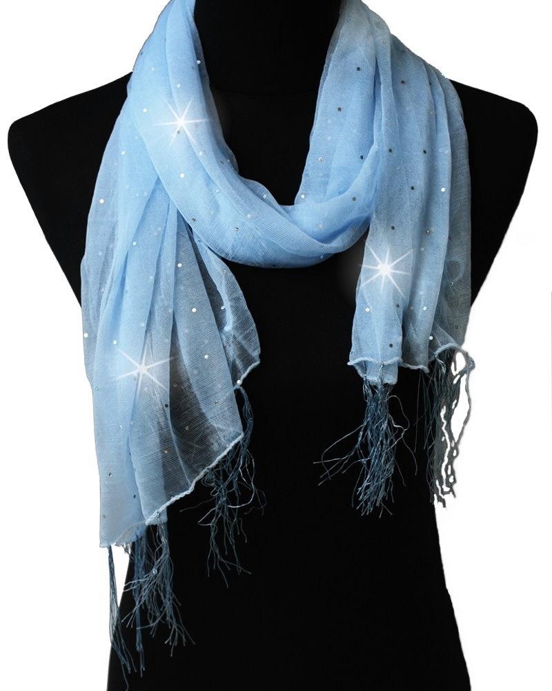 Schal Tuch Stola Damenschal 150cm Glitzer gepunktet hellblau T5033