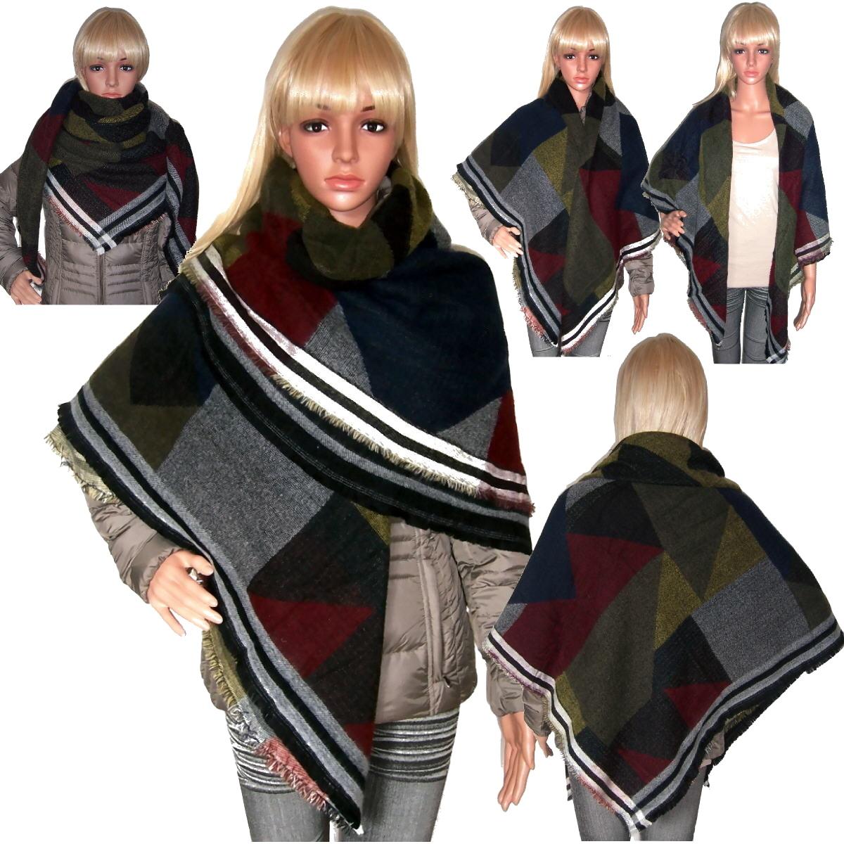 T6022 Schal Tuch Winter Winterschal Poncho Cape Quadrat Mehrfarben Blogger