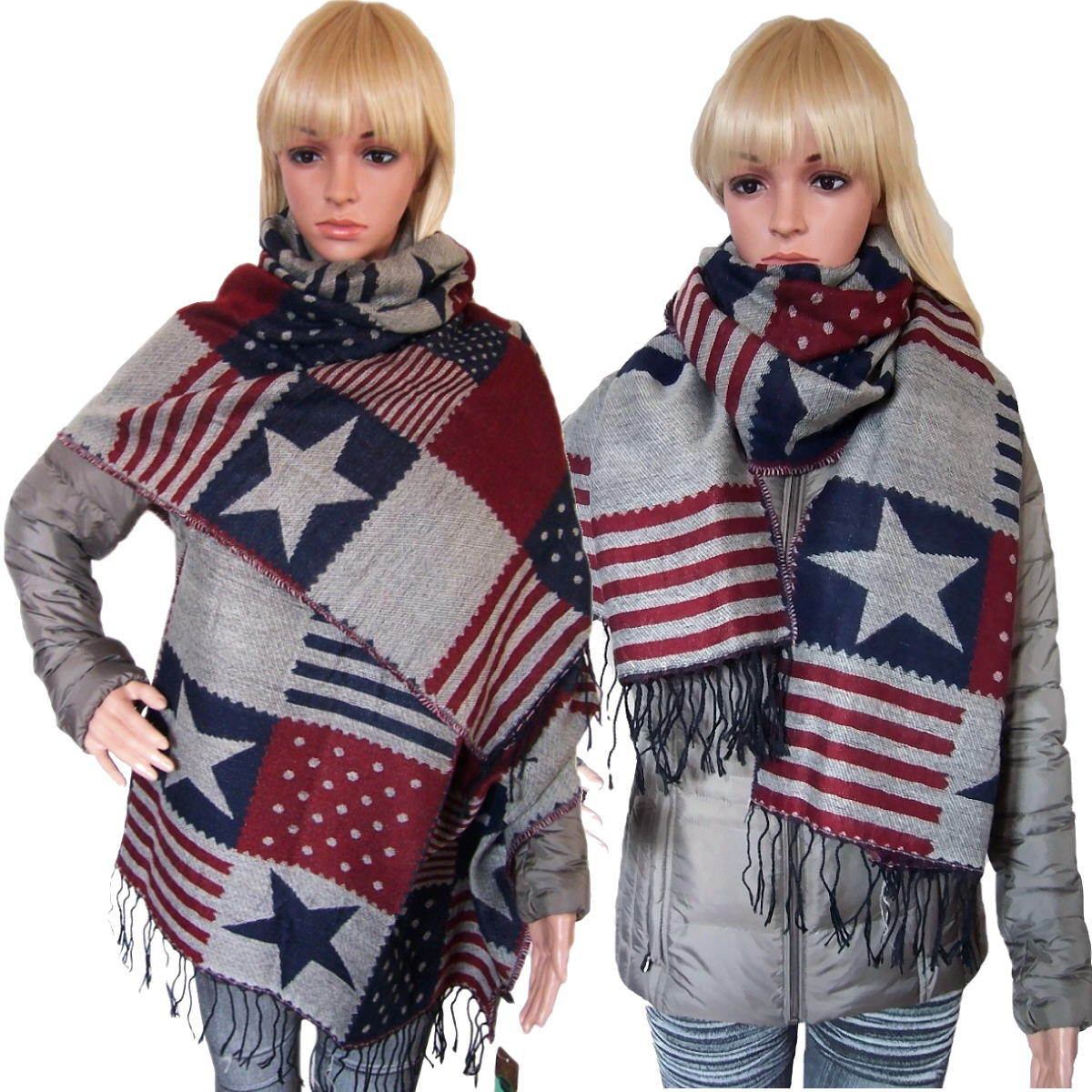 Schal Tuch Winterschal Stars and Stripes Amerika rot blau T6049