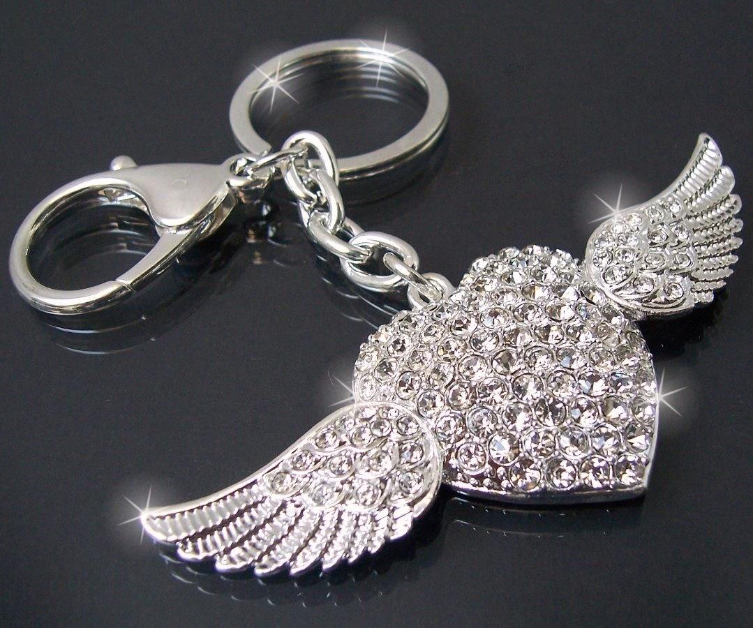 Ta925* Anhänger Tasche, Schlüsselanhänger Herz Flügel Silber Strass