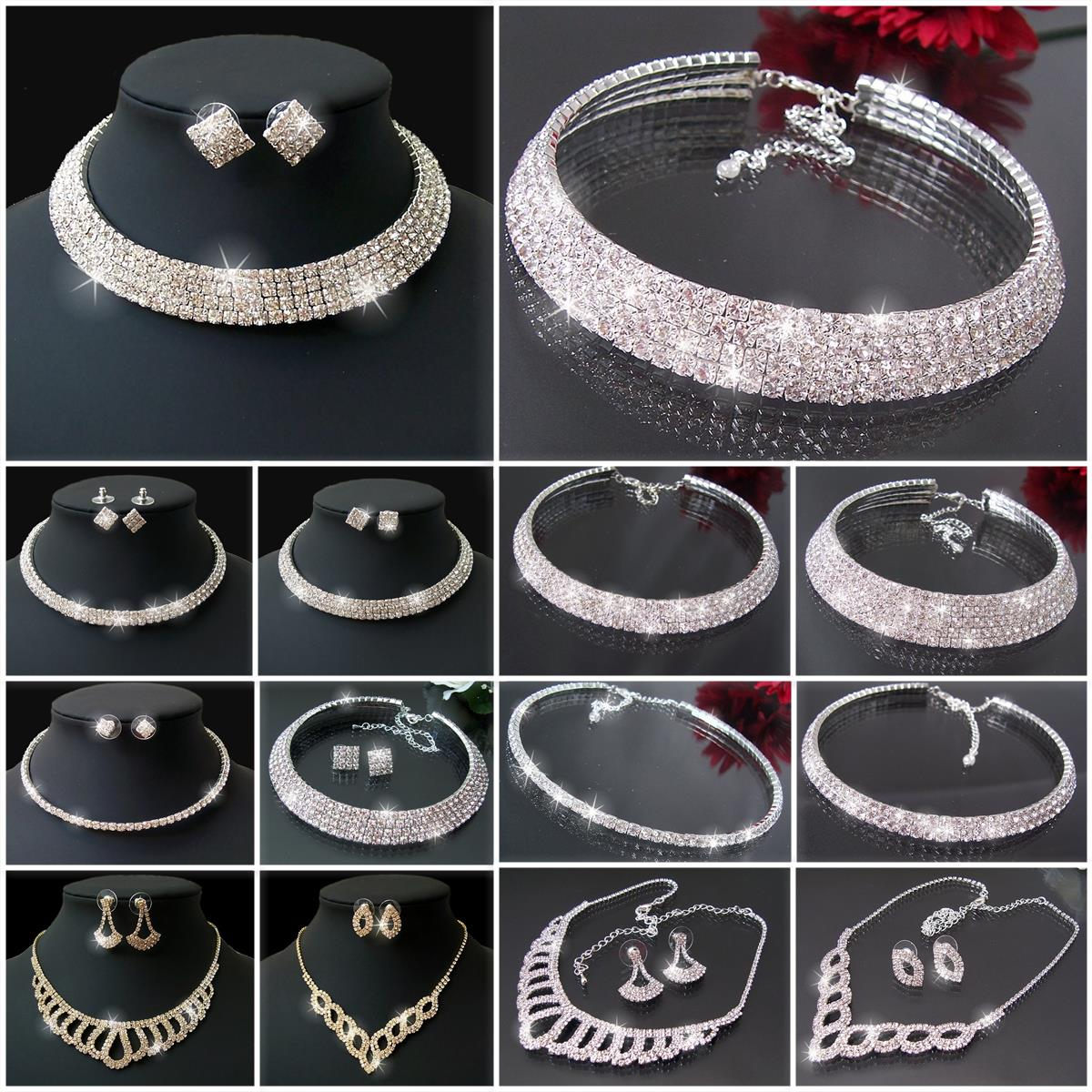 VS12* Collier Choker Ohrringe Armband Strass Schmuck Set Neu