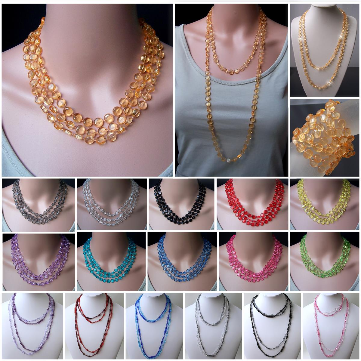 VZ6# Wickelkette Perlenkette Halskette transparente Perlen Modeschmuck