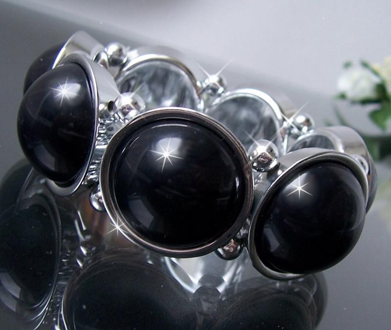 Z133 Statement ARMBAND dehnbar Perlenarmband Perlen halbrund silber schwarz