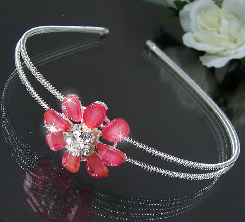 Z183# Haarreif Diadem Silber Strass rosa weiss Blume