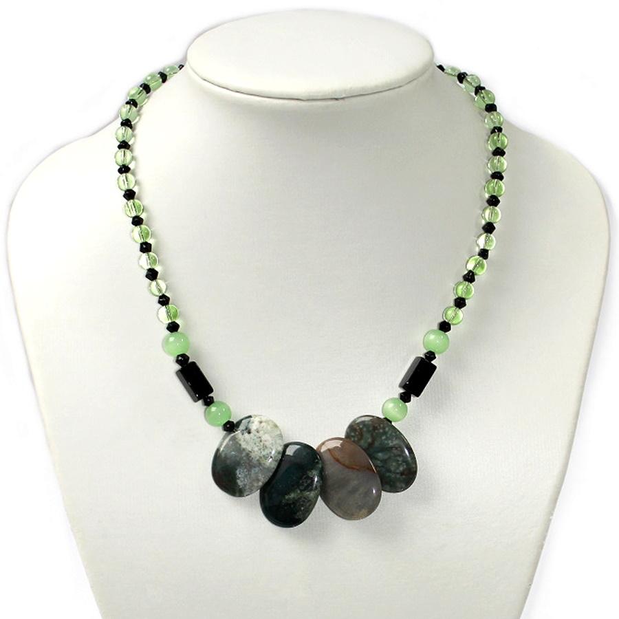 Z22 Collier Kette 45cm Edelstein Achat Anhänger Perlen grün schwarz