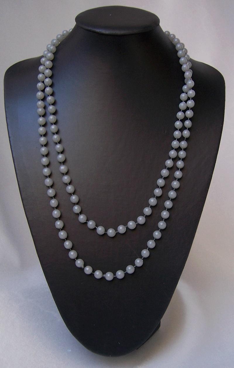 Z247 lange Perlenkette hellgrau Imitationsperlen Halskette Wickelkette