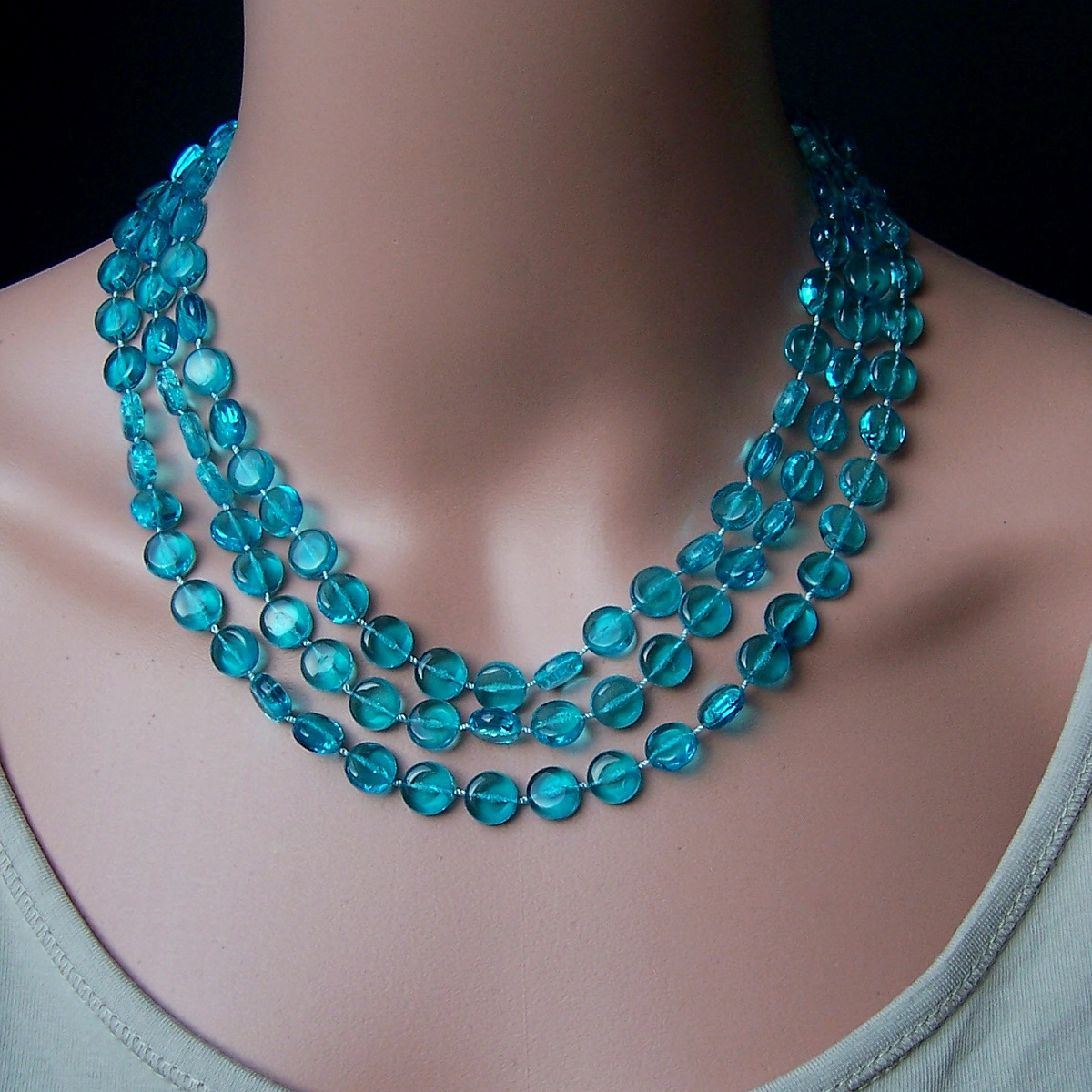 Z277# Perlenkette lang türkis Imitationsperlen Wickelkette Halskette