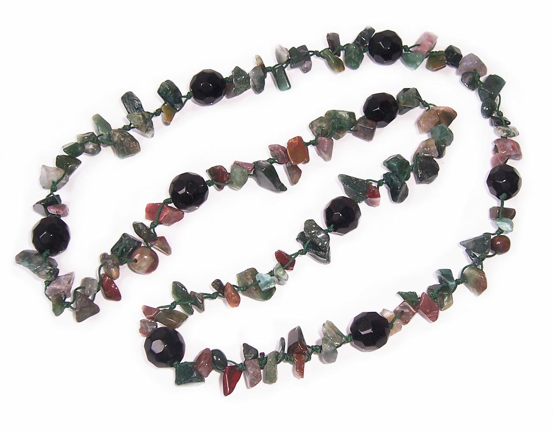 Kette Lange Halskette 95cm Edelstein Achat grün Perlen schwarz Z69